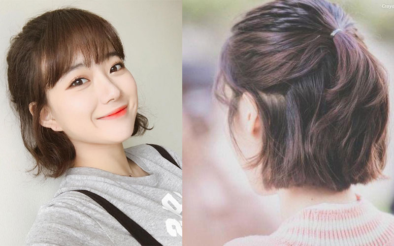 cách buộc tóc ngắn kiểu nửa đầu