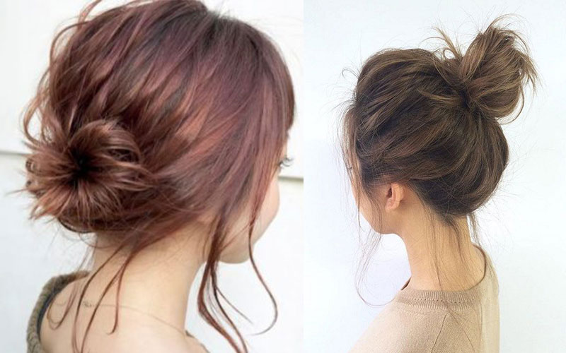 tóc ngắn kiểu búi phồng
