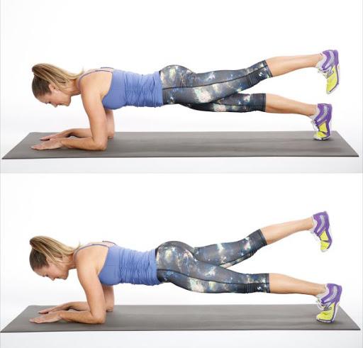 elbow plank leg raises
